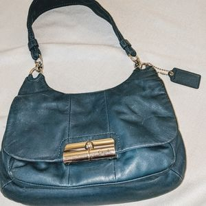 Coach dark blue leather purse with gold hardware